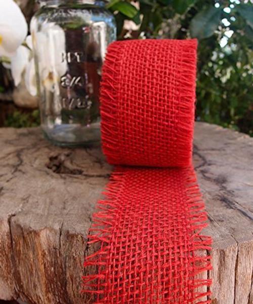 JUTE BURLAP RIBBON - RED, 2.5 INCH X 10 YARDS