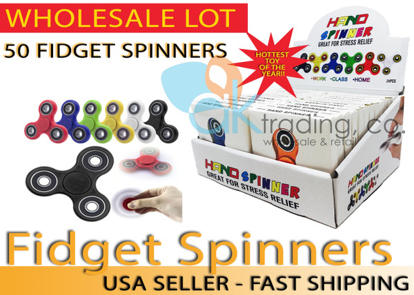 AK-Trading - LOT OF 50 - Tri Spinner Fidget Gadget Hand EDC Triangle Toy Wholesale Assorted Colors (BULK LOT OF 50) - Comes with Display Box