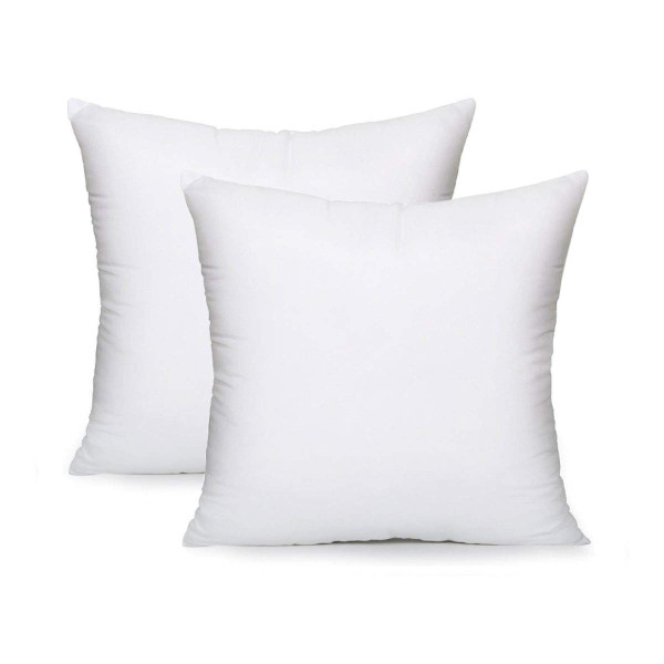 "AK TRADING CO. Square Poly Pillow Insert, 18"" L X 18"" White - 2 Pack"