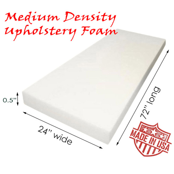 "QOMFY 0.5"" x 24"" x 72"" Upholstery Foam Medium Density Cushion; (Seat Replacement, Foam Sheet, Foam Padding)"