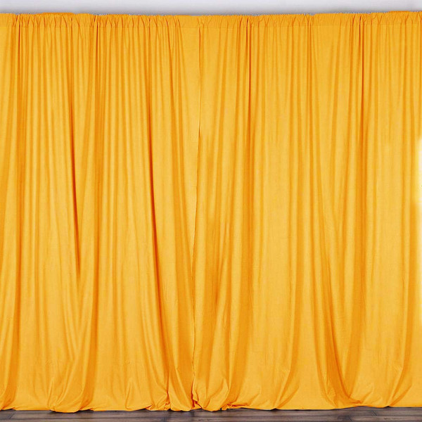 2 Pack | 10 Feet Polyester Backdrop Drapes Curtains Panels with Rod Pockets - Wedding Ceremony Party Home Window Decorations - Marigold