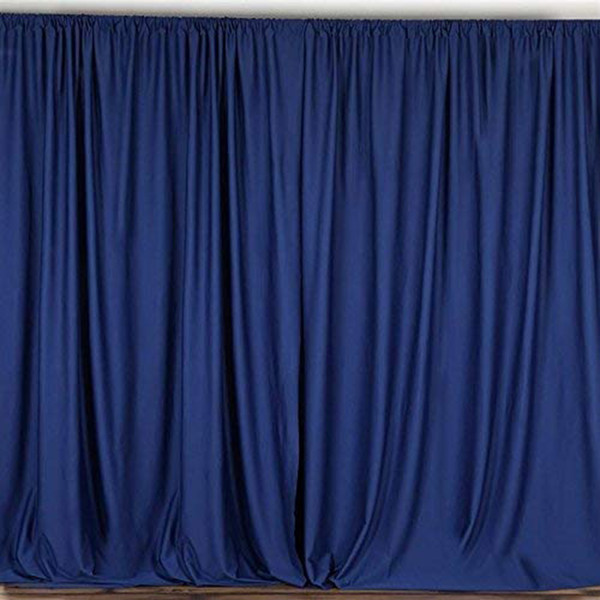 2 Pack   10 Feet Polyester Backdrop Drapes Curtains Panels with Rod Pockets - Wedding Ceremony Party Home Window Decorations - Navy Blue