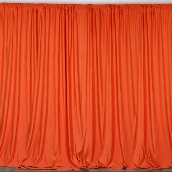 2 Pack | 10 Feet Polyester Backdrop Drapes Curtains Panels with Rod Pockets - Wedding Ceremony Party Home Window Decorations - Orange