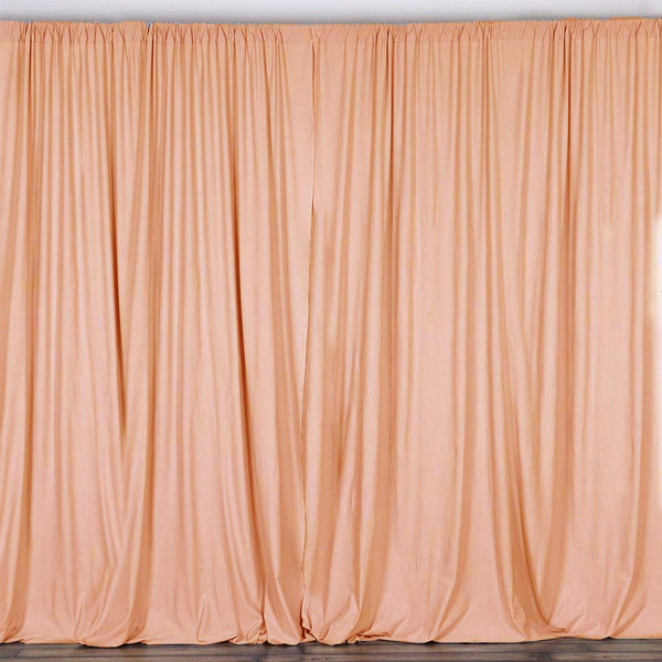 2 Pack | 10 Feet Polyester Backdrop Drapes Curtains Panels with Rod Pockets - Wedding Ceremony Party Home Window Decorations - Peach