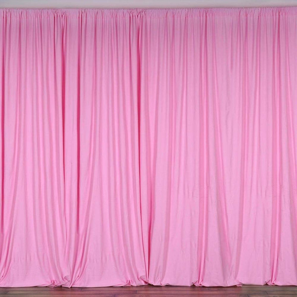 2 Pack | 10 Feet Polyester Backdrop Drapes Curtains Panels with Rod Pockets - Wedding Ceremony Party Home Window Decorations - Pink