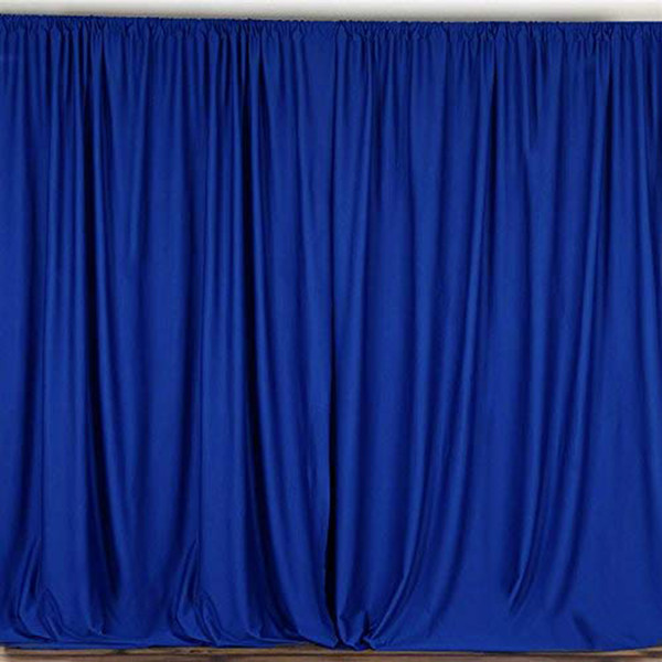 2 Pack | 10 Feet Polyester Backdrop Drapes Curtains Panels with Rod Pockets - Wedding Ceremony Party Home Window Decorations - Royal Blue