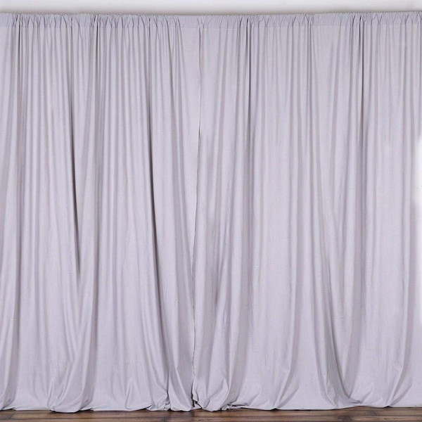 2 Pack | 10 Feet Polyester Backdrop Drapes Curtains Panels with Rod Pockets - Wedding Ceremony Party Home Window Decorations - Silver