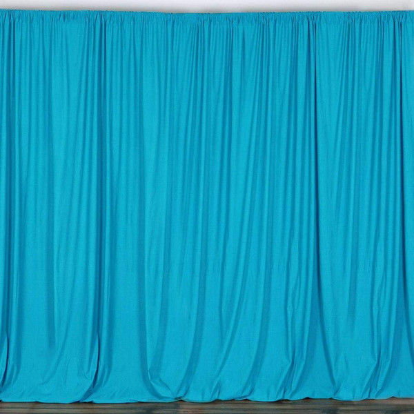2 Pack | 10 Feet Polyester Backdrop Drapes Curtains Panels with Rod Pockets - Wedding Ceremony Party Home Window Decorations - Turquoise