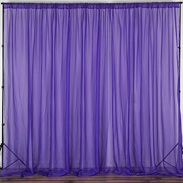 """Purple - 120"""" Wide (10Ft Wide) Sheer Voile Drape Panels - Select from 6ft to 50ft Length"""