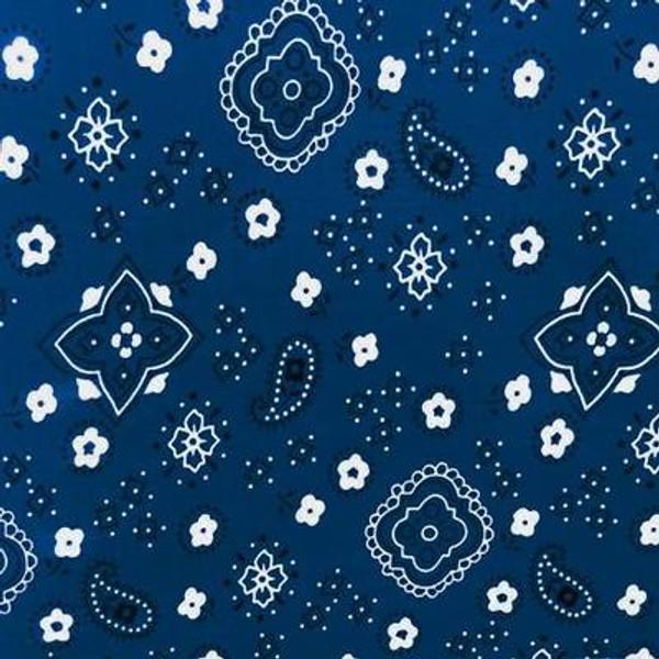 Navy Paisley Bandana Poly Cotton Fabric