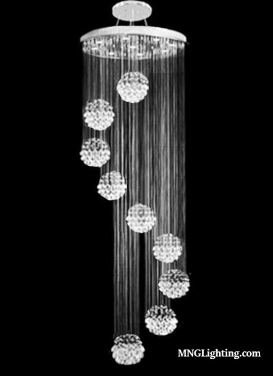 Image of: Staircase Chandelier Raindrop Spiral Modern Crystal Pendant Chandelier Light Mc18677 High Ceiling Chandeliers Montreal Quebec Canada Online Sale
