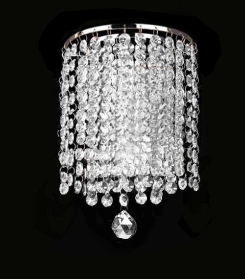 modern crystal chrome wall light sconce