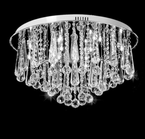 round crystal chandelier flush mount ceiling lamp, round crystal ceiling light