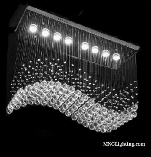 raindrop wave led modern crystal chandelier for dining room kitchen island
