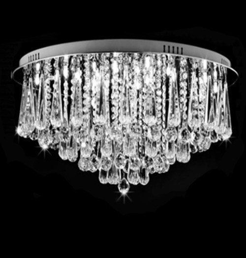 flush mount round modern crystal chandelier ceiling light