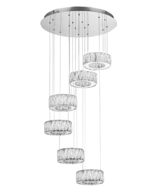6 Ring Crystal Chandelier, led modern crystal chandelier light fixture, multi ring led modern crystal chandelier light, spiral crystal chandelier light, led ring crystal chandelier, crystal ring light, crystal ring light fixture, LED chandelier, LED Chandelier light fixture,  LED Integrated Chandelier, Chandelier for high ceiling foyer, entryway modern chandelier light fixture, staircase modern chandelier light, staircase chandelier light fixture, led crystal chandelier