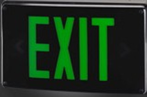 Green LED Exit Sign - Black Housing - With Battery Backup  - TCP #22749