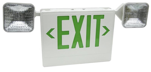 Emergency Exit Combination Unit - Green Lettering - With Battery Backup