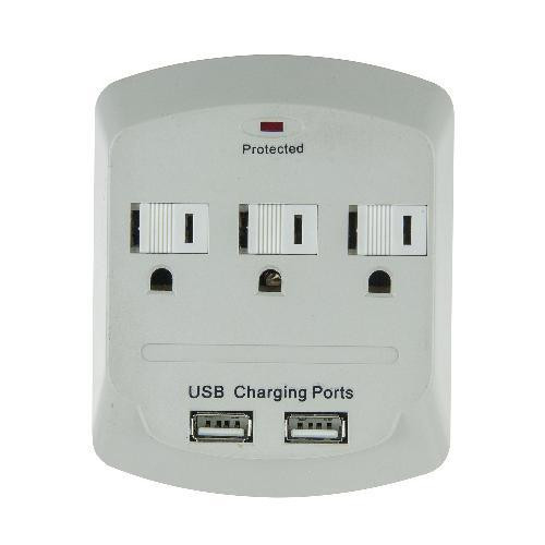 3 Outlet Surge Protector with 2 USB Ports - Front View