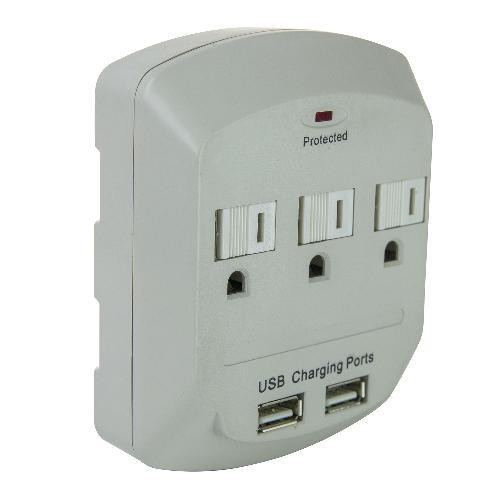 3 Outlet Surge Protector with 2 USB Ports - Side View