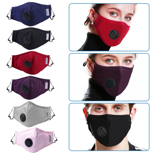 4 LAYERS COTTON FACE MASK WITH FILTER AIR VALVE WASHABLE REUSABLE UK Standard (BLUE)