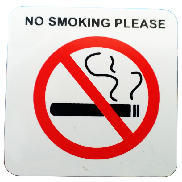 PVC NO SMOKING SIGN, IN DOOR AND OUT DOOR SELF ADHESIVE 55X55MM