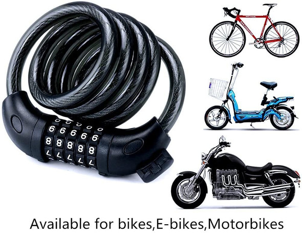 Strong New Combination Bike Lock Heavy Duty Cycle, Schooter Security 5 code 1.2M