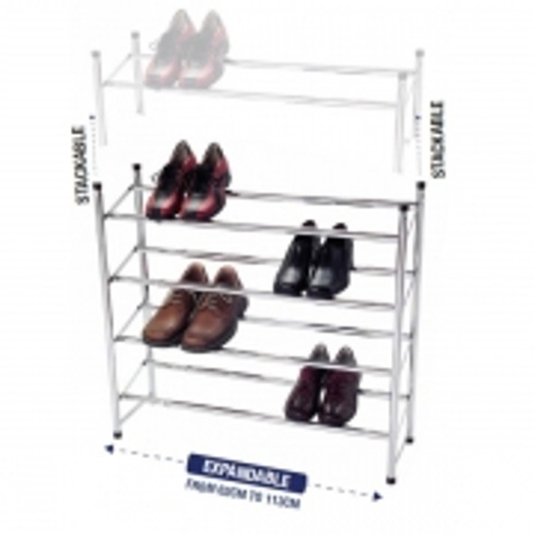 24 Pair 4 Tier Expandable/Stack Shoe Rack