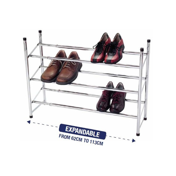 3 Tier Shoe Rack Extendable & Stackable
