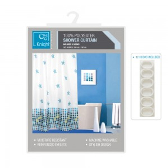 Printed Polyester Shower Curtain 180x180cm
