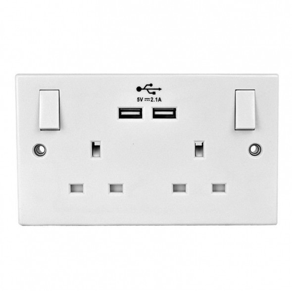 Double Wall Socket With 2x Usb Charger