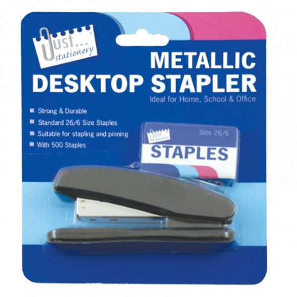 Metallic Stapler And 500 26/6 Staples