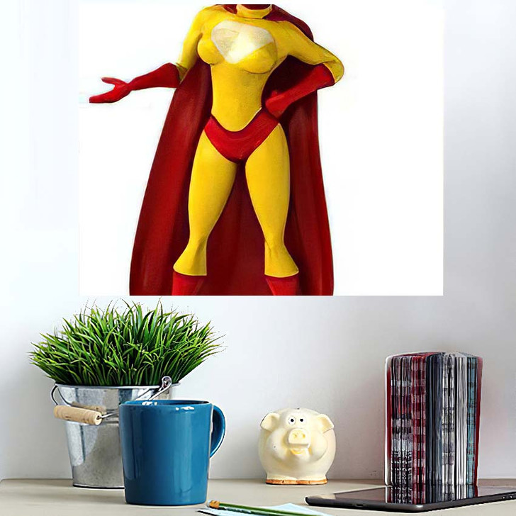 3D Illustration Superhero Mask - Cartoon Wall Art Poster
