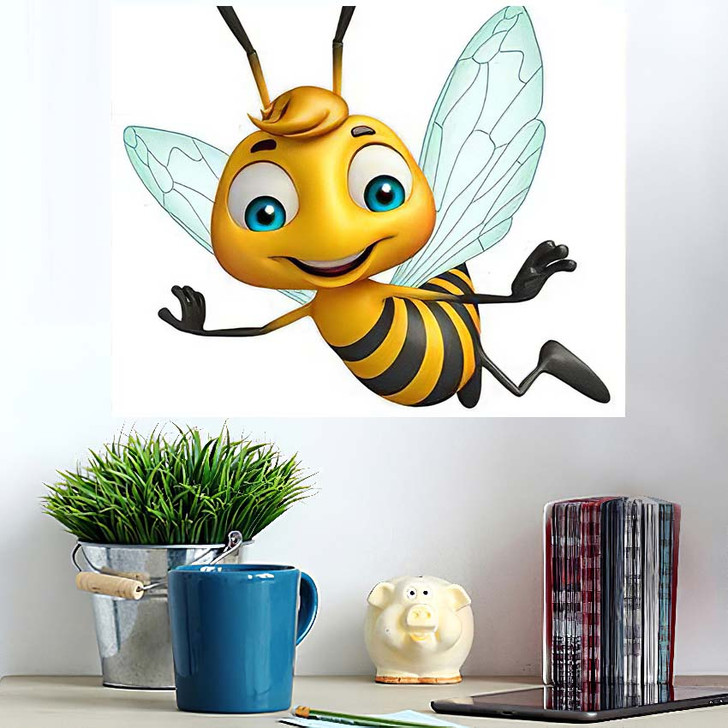 3D Rendered Illustration Bee Funny Cartoon - Cartoon Wall Art Poster