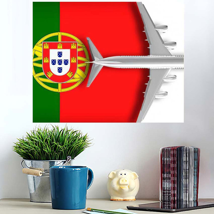 3D Flag Portugal Airplane Flying Over - Airplane Airport Wall Art Poster