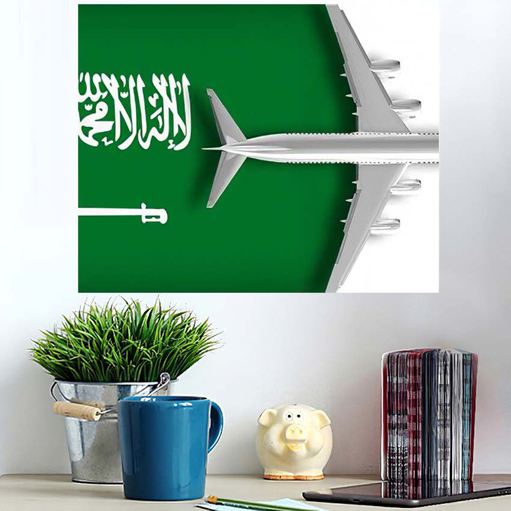 3D Flag Saudi Arabia Airplane Flying - Airplane Airport Wall Art Poster