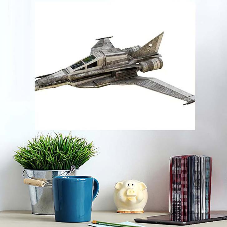 3D Illustration Spaceship Fighter Isolated On - Airplane Airport Wall Art Poster