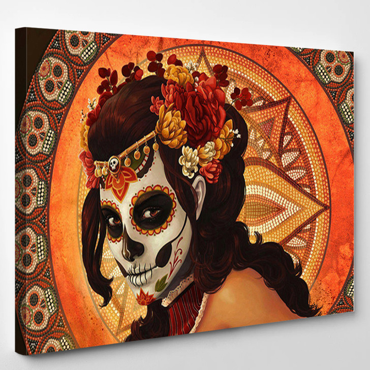 Day Of The Dead Inspired Face Sugar Skull - Abstract Canvas Wall Decor