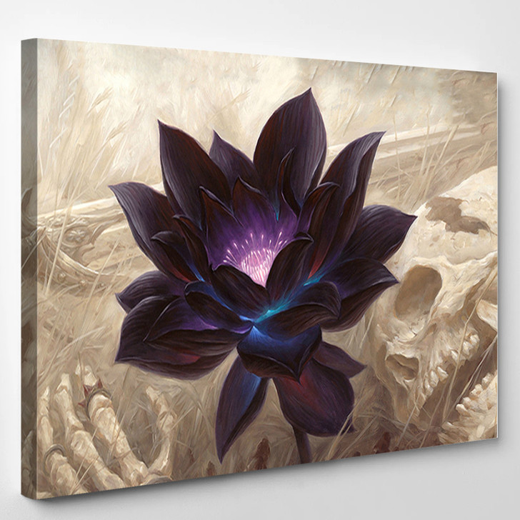 Black Lotus Abstract Flower - Nature Canvas Wall Decor