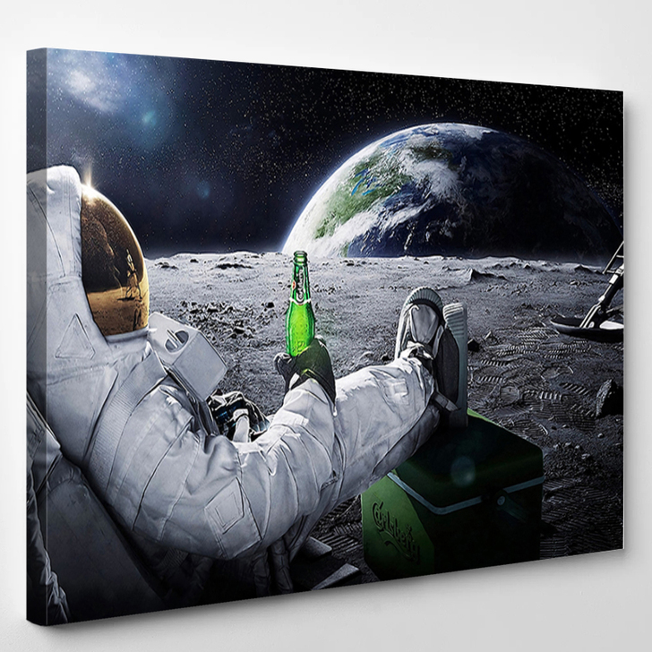 Beer Drinking Astronaut - Space Canvas Wall Decor