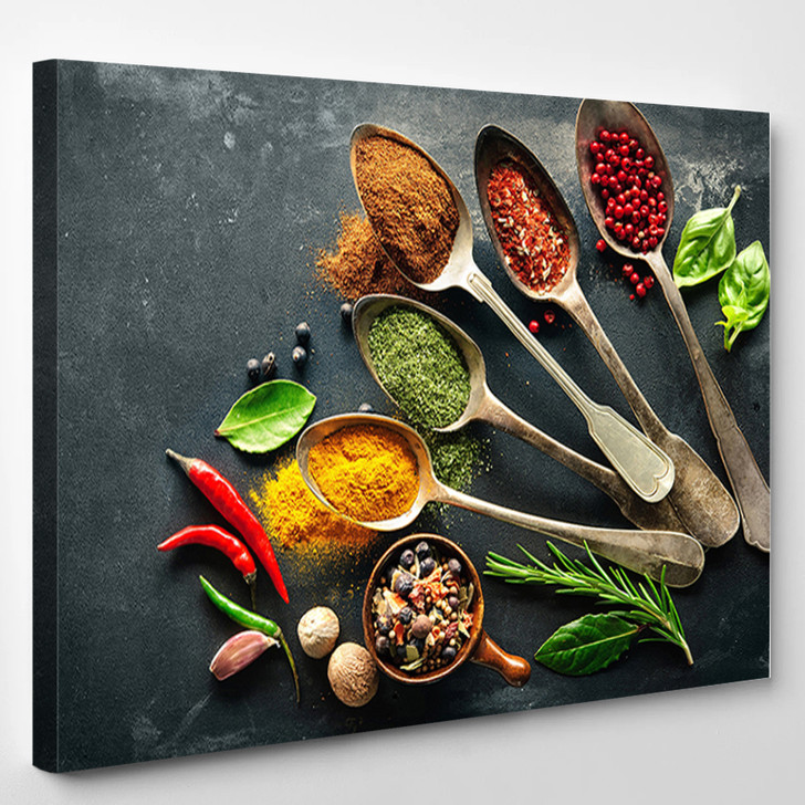 Spices Garlic And Chili Food - Kitchen Canvas Wall Decor