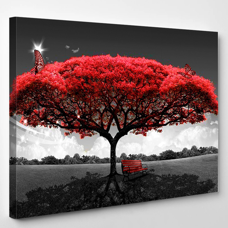 Red Tree Scenery - Nature Canvas Wall Decor