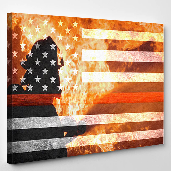Firefighter Flag Red Line Heroes - Abstract Canvas Wall Decor