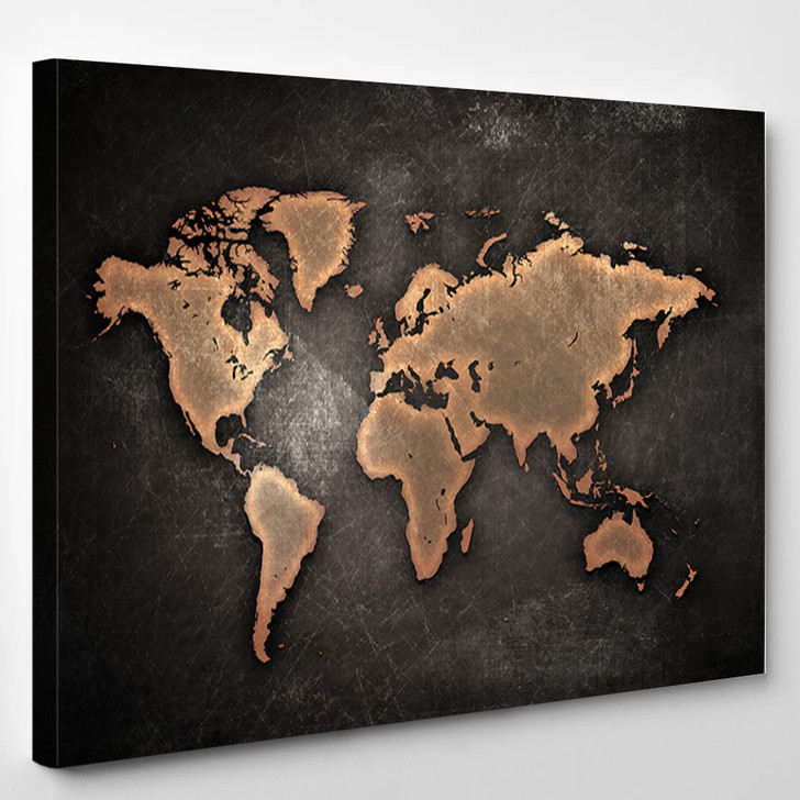 Copper Toned World Map - Abstract Canvas Wall Decor