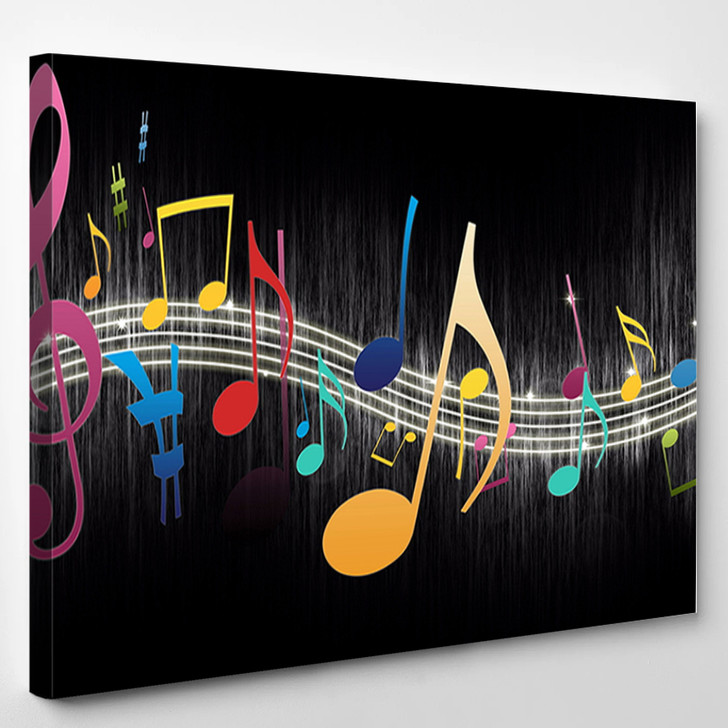 Colorful music notes - Music Canvas Wall Decor