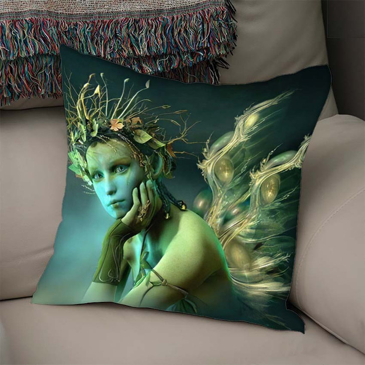 3D Computer Graphics Fairy Wings Wreath - Fantasy Linen Throw Pillow