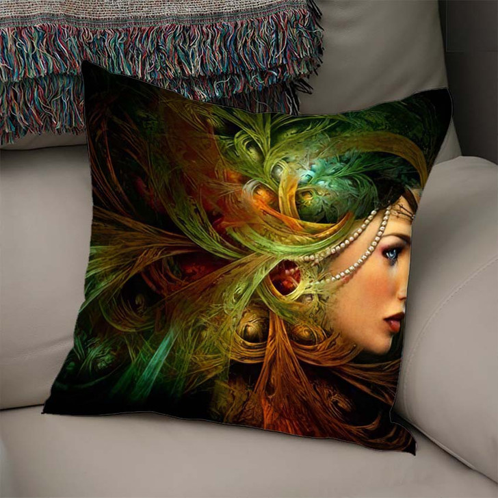 3D Computer Graphics Portrait Lady Abstract - Fantasy Linen Throw Pillow