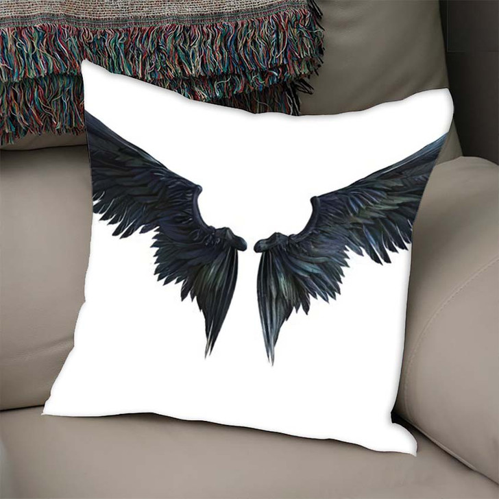 3D Illustration Demon Wings Black Wing - Fantasy Linen Throw Pillow
