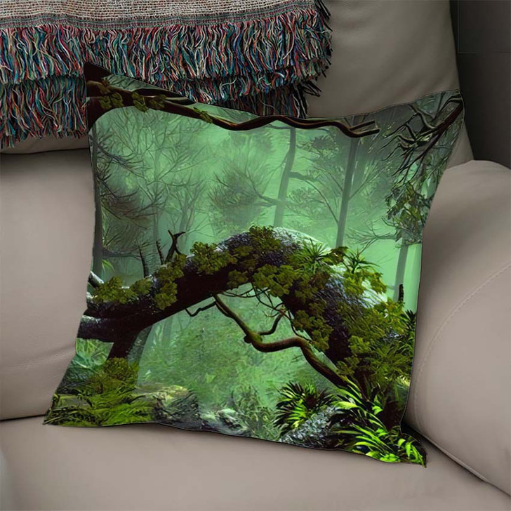 3D Illustration Forest Landscape Dense Cloudy 1 - Fantasy Linen Throw Pillow