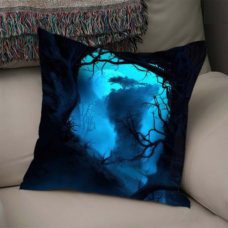 3D Illustration Landscape Where One Observes 1 - Fantasy Linen Throw Pillow